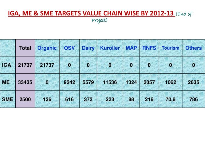 IGA, ME & SME TARGETS VALUE CHAIN WISE BY 2012-13