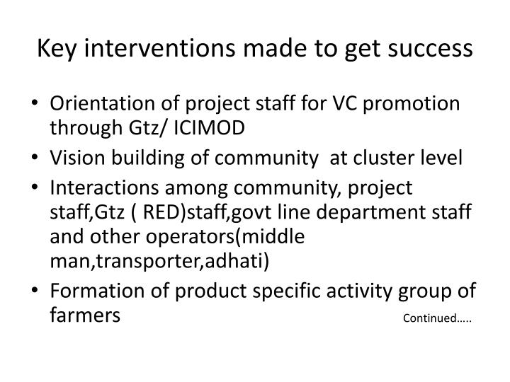 Key interventions made to get success