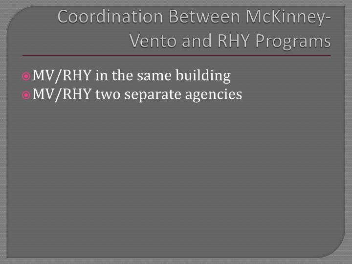 Coordination Between McKinney-Vento and RHY Programs