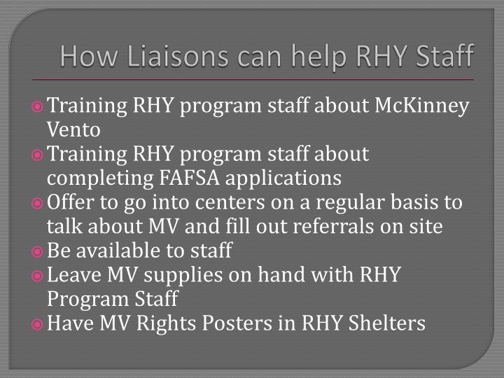 How Liaisons can help RHY Staff