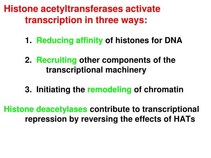 Histone acetyltransferases activate transcription in three ways: