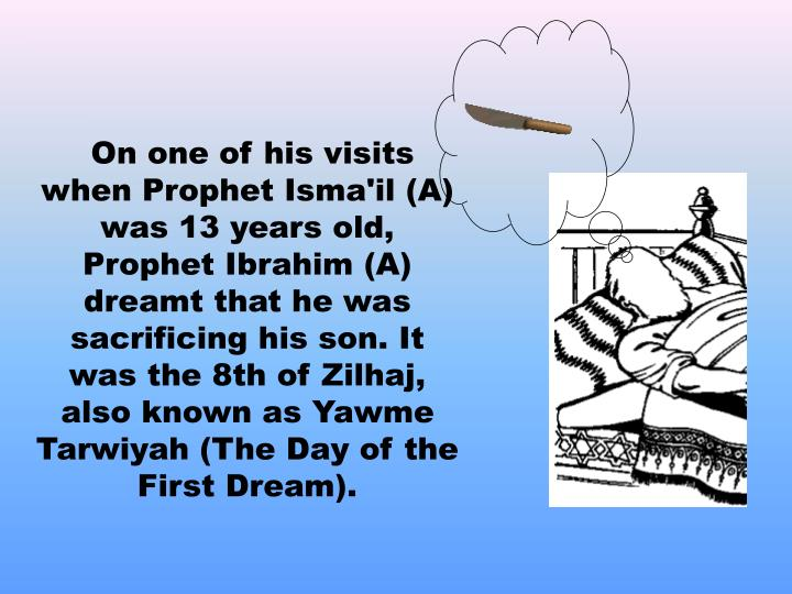 On one of his visits when Prophet Isma'il (A)