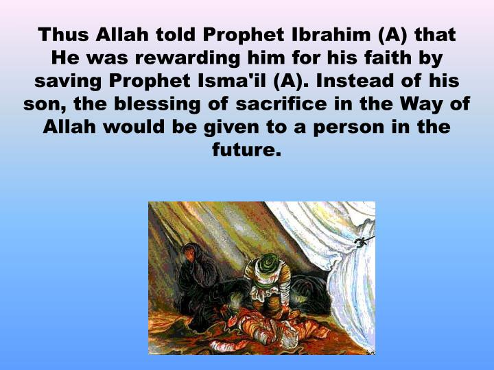 Thus Allah told Prophet Ibrahim (A) that He was rewarding him for his faith by saving Prophet Isma'il (A). Instead of his son, the blessing of sacrifice in the Way of Allah would be given to a person in the future.