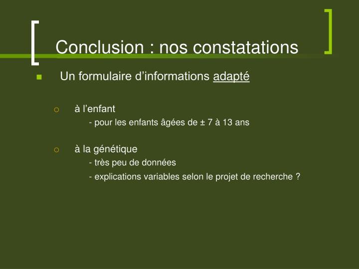 Conclusion : nos constatations