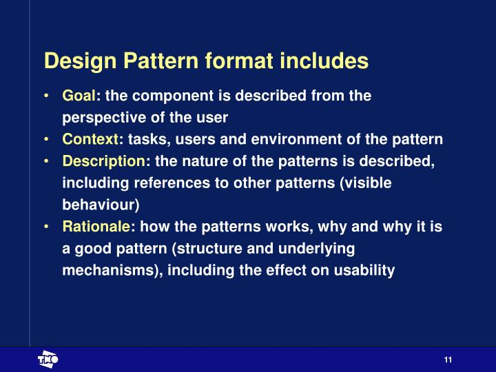 Design Pattern format includes