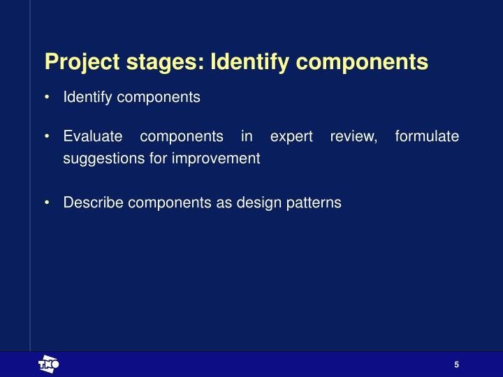 Project stages: Identify components