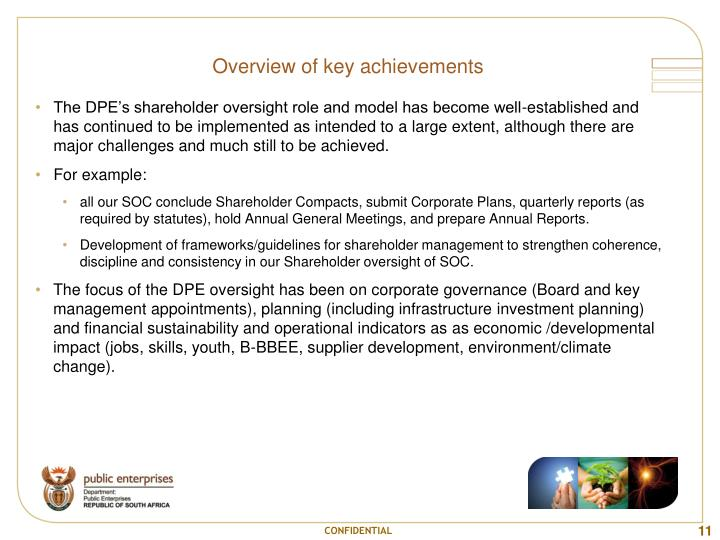 Overview of key achievements