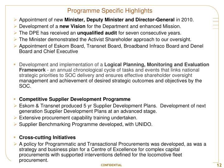 Programme Specific Highlights