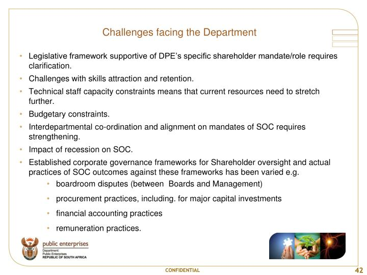 Challenges facing the Department
