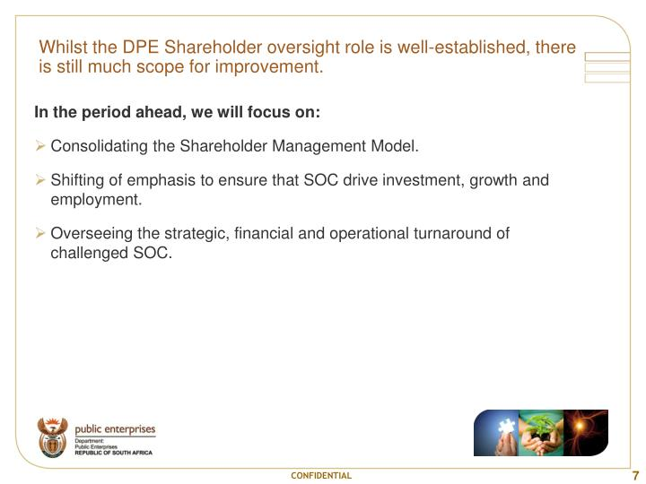 Whilst the DPE Shareholder oversight role is well-established, there is still much scope for improvement.