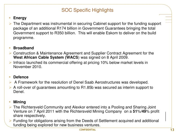 SOC Specific Highlights
