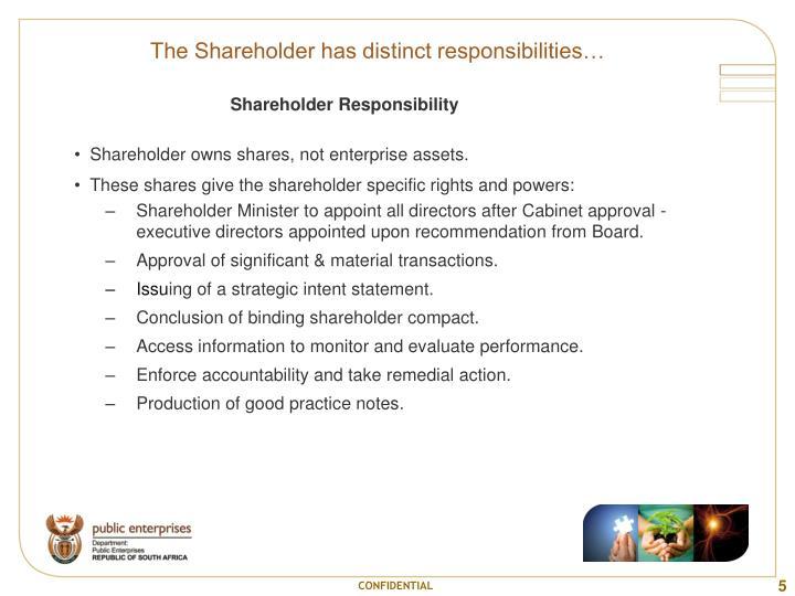 The Shareholder has distinct responsibilities…