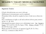 mclane v valley medical facilities 157 pitts l j 252 allegheny co c p 2009 judge wettick3