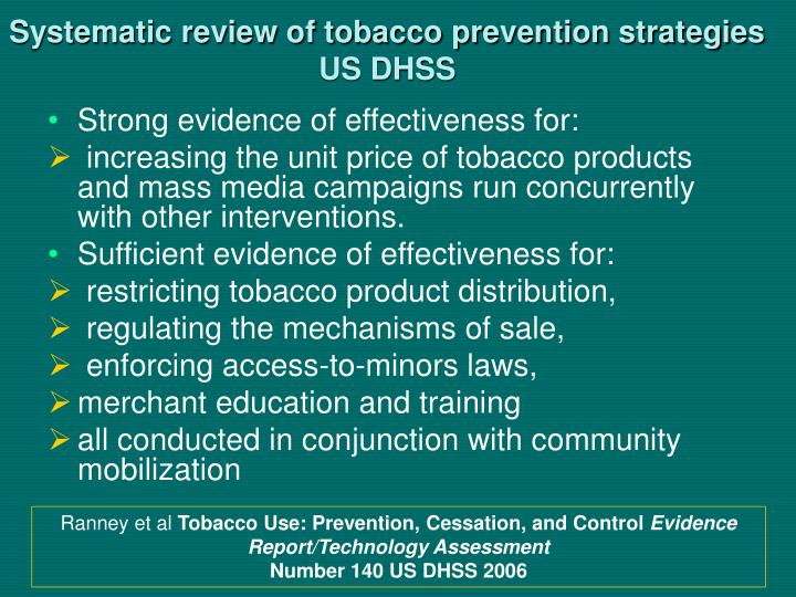 Systematic review of tobacco prevention strategies