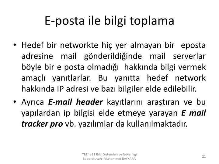 E-posta ile bilgi toplama
