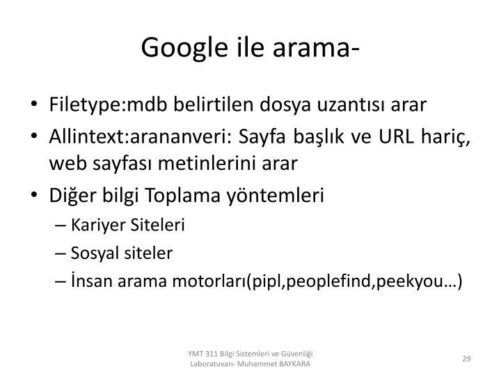 Google ile arama-