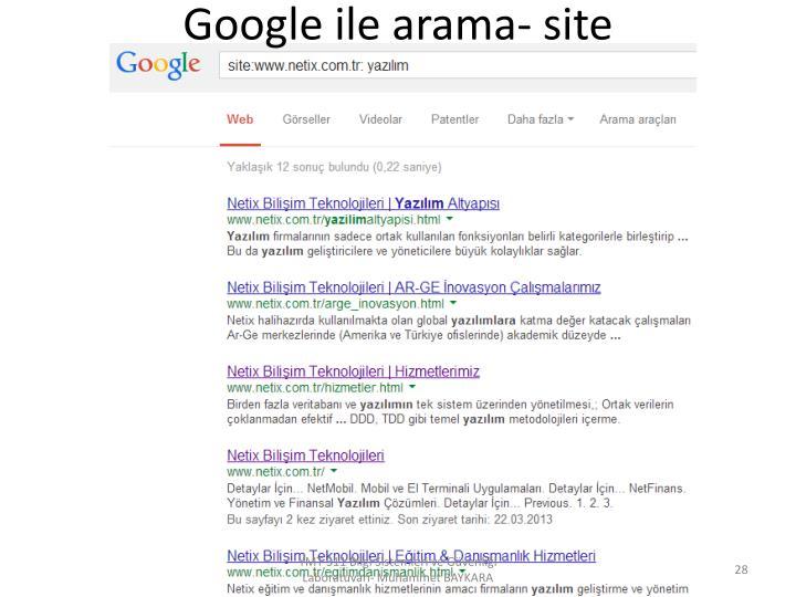 Google ile arama- site