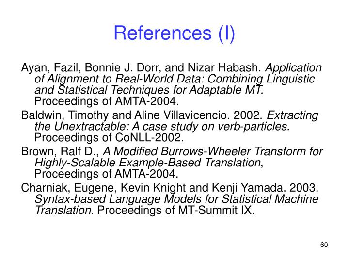 References (I)