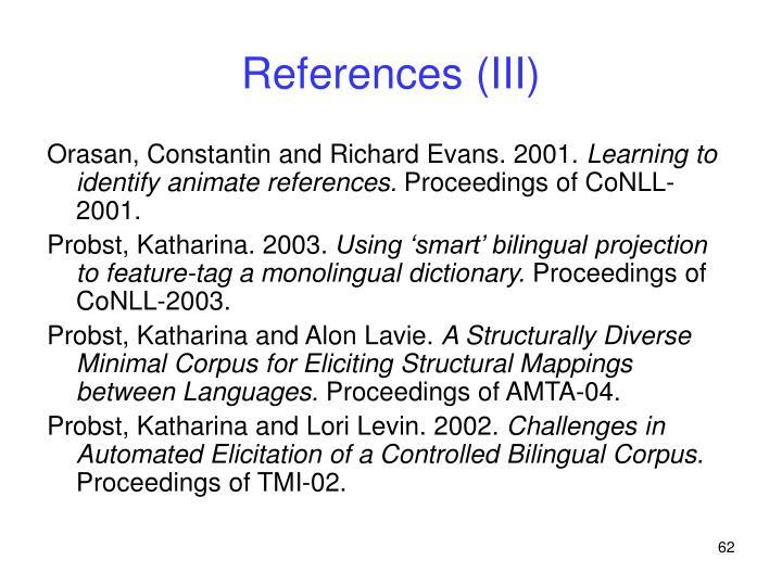 References (III)