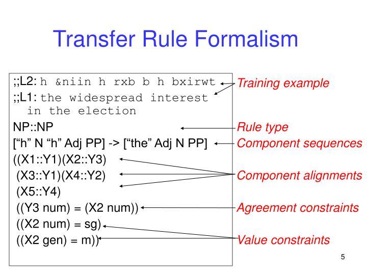 Transfer Rule Formalism