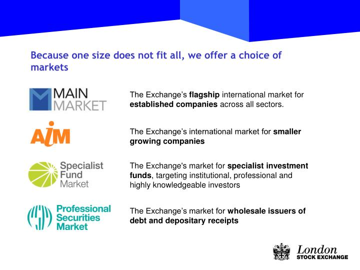 Because one size does not fit all, we offer a choice of markets
