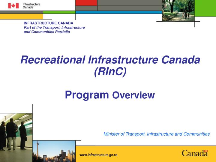 recreational infrastructure canada rinc program overview n.