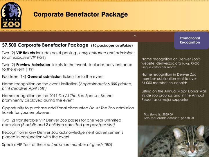 Corporate Benefactor Package