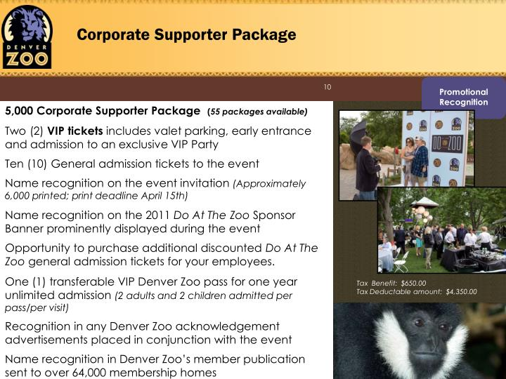 Corporate Supporter Package