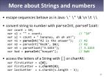 more about strings and numbers