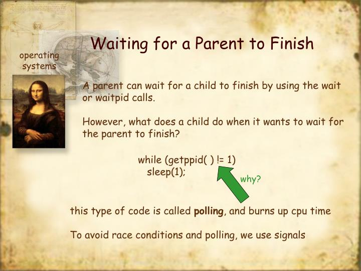 Waiting for a Parent to Finish
