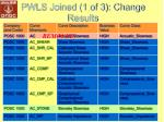 pwls joined 1 of 3 change results