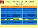 pwls joined 3 of 3 change results