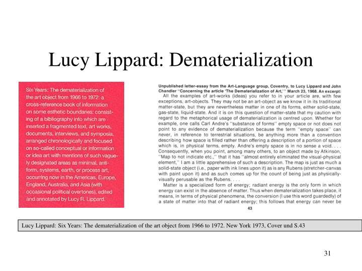 Lucy Lippard: Dematerialization