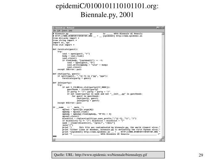 epidemiC/0100101110101101.org: Biennale.py, 2001