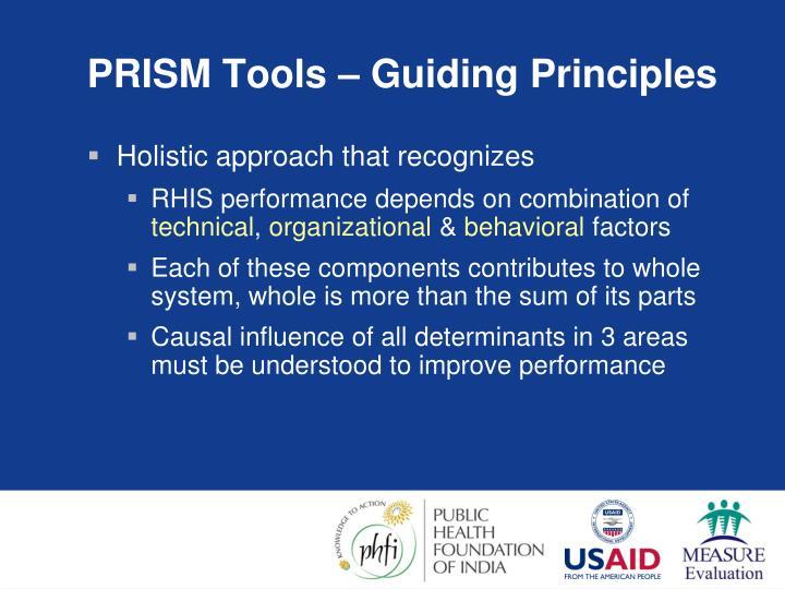 PRISM Tools – Guiding Principles