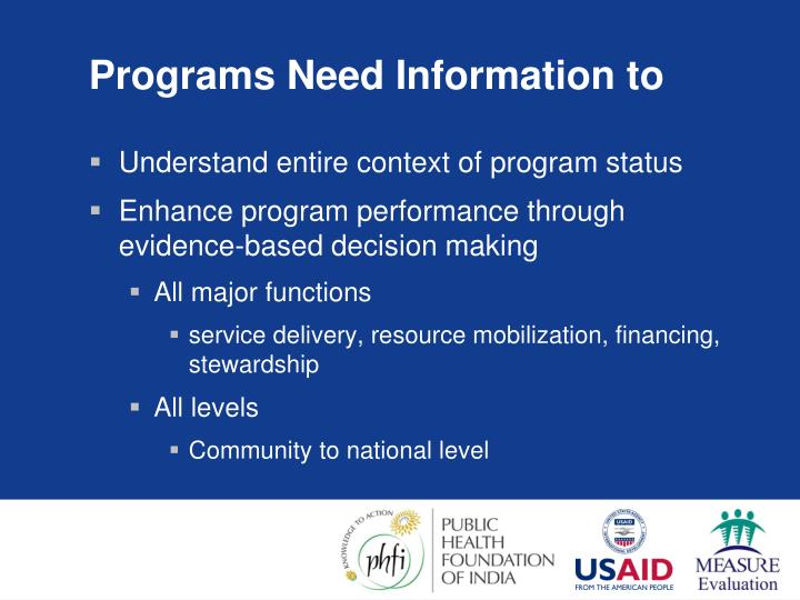 Programs Need Information to