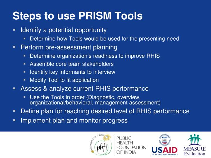 Steps to use PRISM Tools