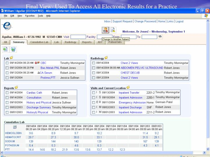 Final View- Used To Access All Electronic Results for a Practice