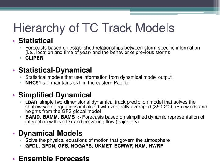 Hierarchy of TC Track Models