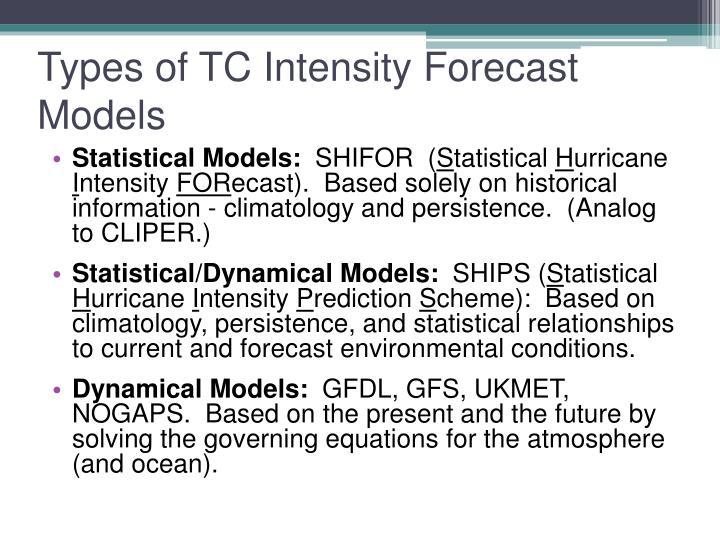 Types of TC Intensity Forecast Models