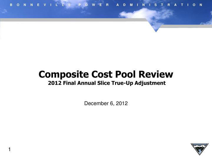 Composite Cost Pool Review 2012 Final Annual Slice True Up Adjustment