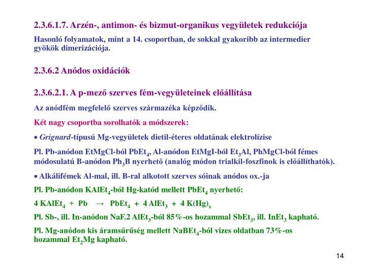 2.3.6.1.7. Arzén-, antimon- és bizmut-organikus vegyületek redukciója