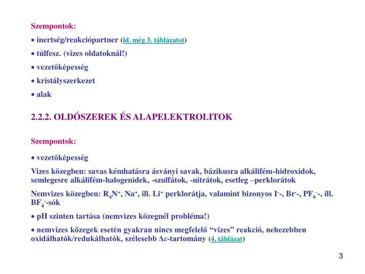 Szempontok: