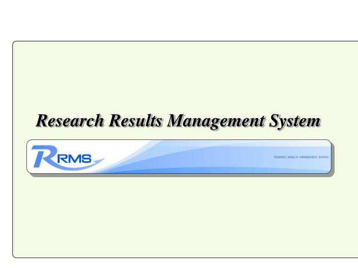 Research Results Management System