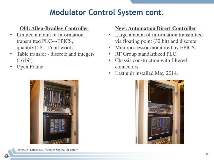 Modulator Control System cont.