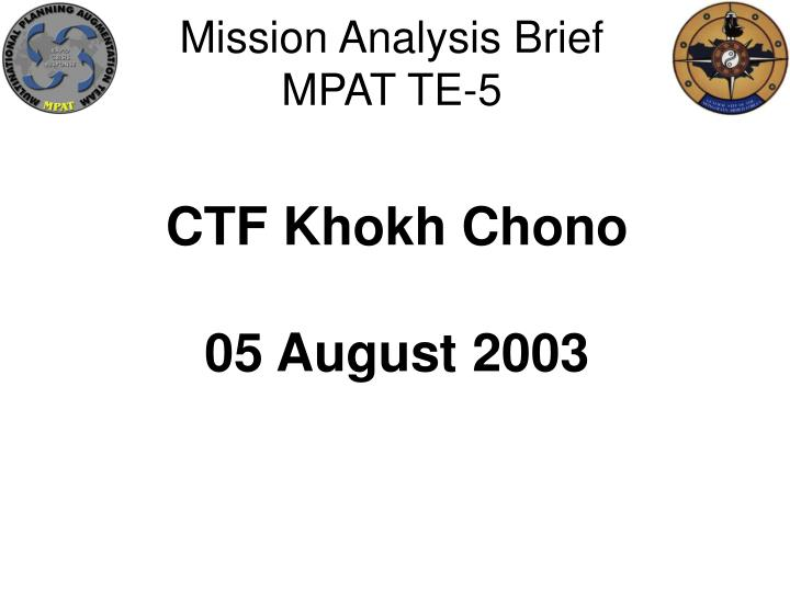 Mission Analysis Brief