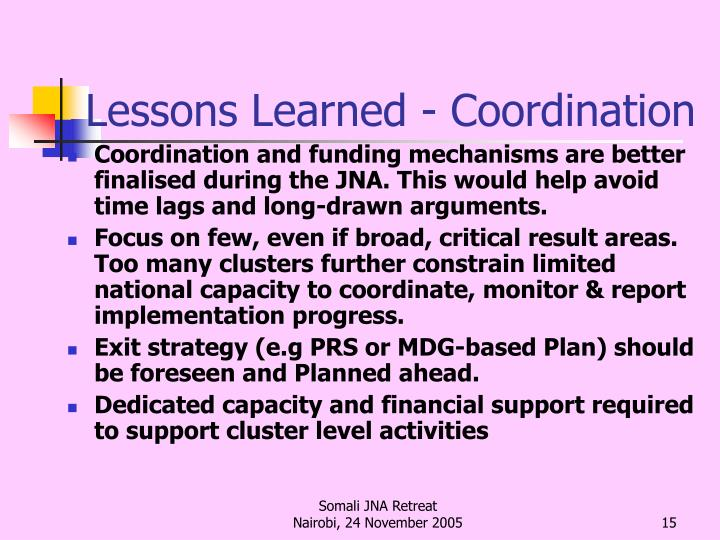 Lessons Learned - Coordination