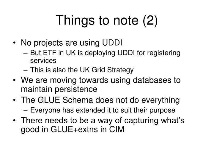 Things to note (2)