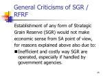 general criticisms of sgr rfrf