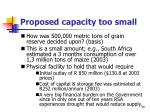 proposed capacity too small